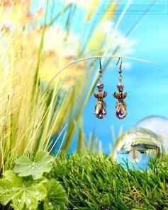Feen Tautropfen Ohrringe - Bronze Anthrazit