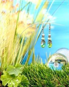 Feen Tautropfen Ohrringe - Bronze Grün Transparent