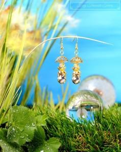 Feen Tautropfen Ohrringe - Gold Gräulich